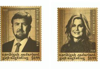 Gouden postzegel van Willem-Alexander en Maxima