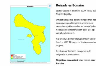 Reisadvies Bonaire aangepast naar geel
