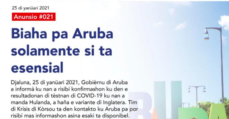 Britse variant op Aruba, Curaçao neemt maatregelen