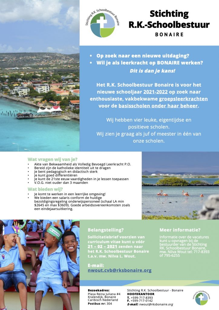 Vacature Groepsleerkrachten Bonaire