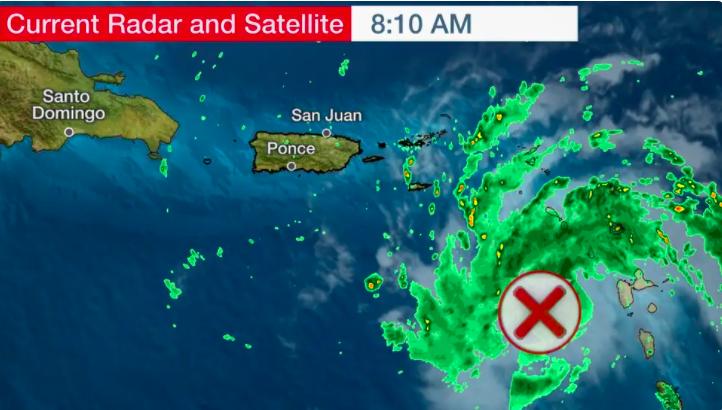 Tropische storm over Sint-Maarten, Saba en Sint-Eustatius